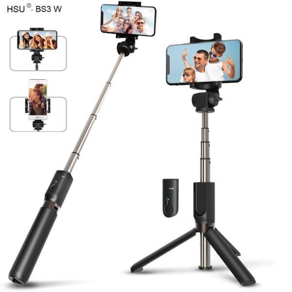 Селфи стик 3 в 1 HSU Wolf – (трипод) + Bluetooth дистанционно iPhone /Android - HSU-3-in-1-Wireless-Bluetooth-Selfie-Stick-Mini-Tripod_00