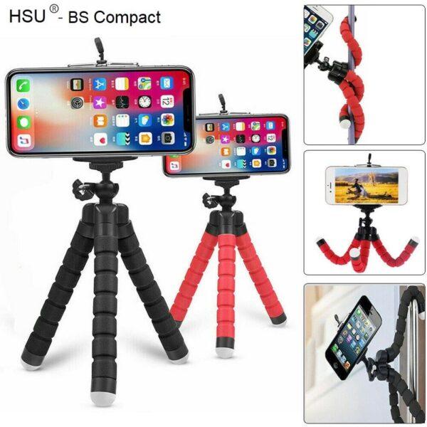 HSU Compact мини трипод - 17 см за смартфон и фотоапарат - HSU-flexible-octopus-tripod-for-phone-17-cm_07