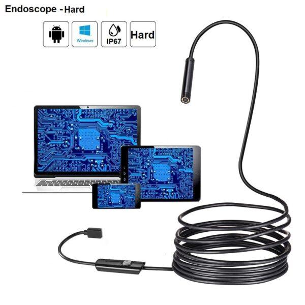 USB Ендоскопска камера – HARD вариант (ТВЪРД КАБЕЛ) | водоустойчивa | 5.5мм за Android и PC