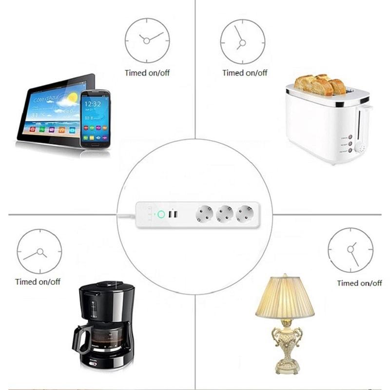 WiFi Смарт Разклонител - 16А 4000W с 3 х гнезда и 2 х USB   2.4A - Wifi Smart Power Strip 3 Outlets and 2 usb - 16 A_00
