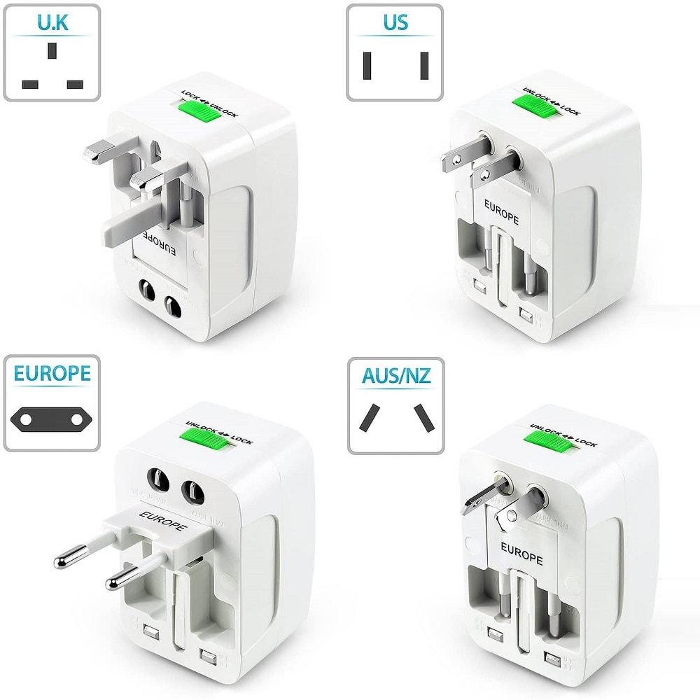 All in one EU UK US AU Universal Travel adapter 2 USB 8 - S-Deal.eu & Sonoff - oнлайн магазин
