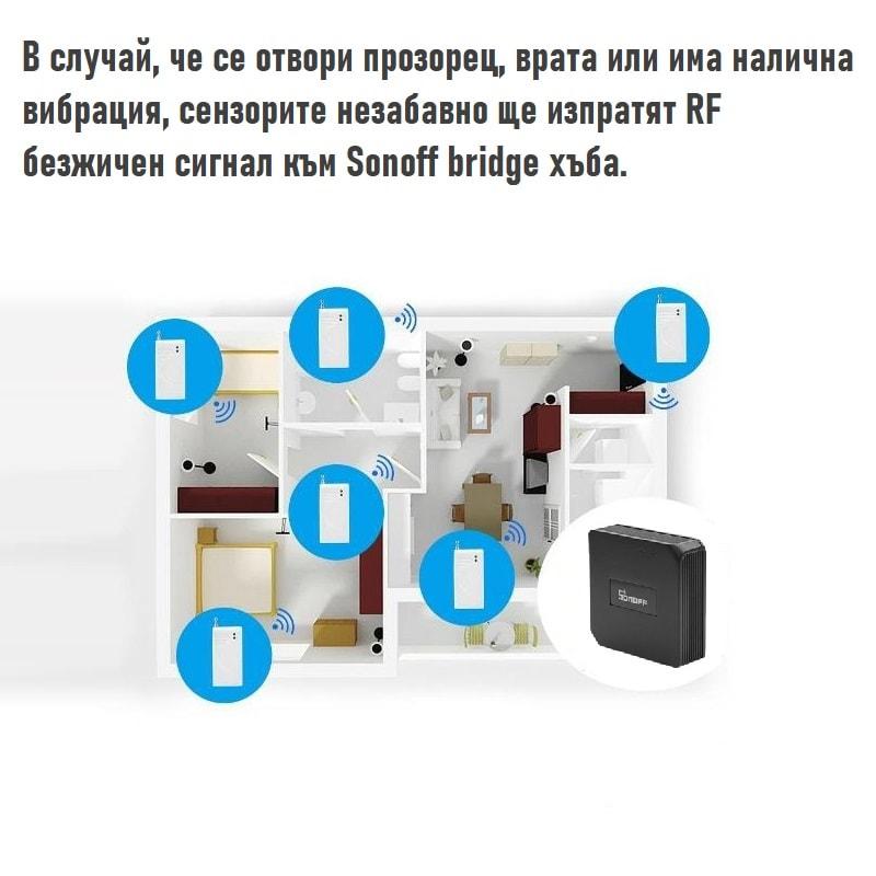 433MHz Wireless Glass Vibration Breakage Sensor Detector work with sonoff bridge 10 - S-Deal.eu & Sonoff - oнлайн магазин
