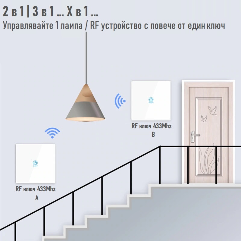 touch glass panel button wireless remote control 433mhz 1 2 3 gang 03 - S-Deal.eu & Sonoff - oнлайн магазин