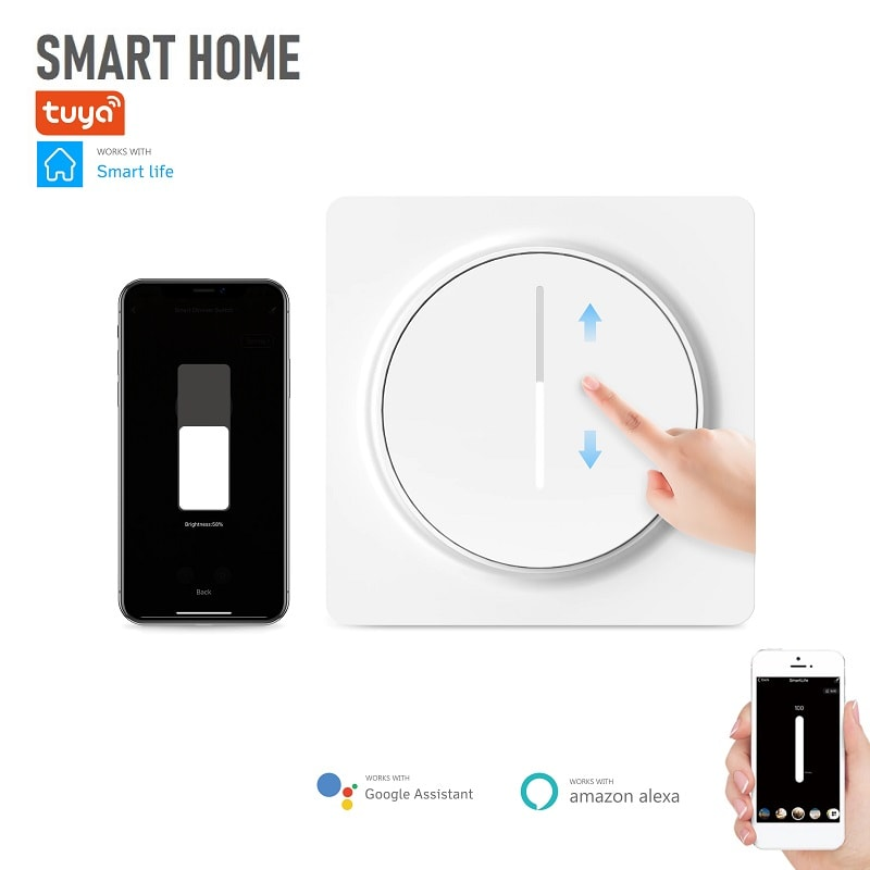 Tuya EDM-01AA - WI-FI Димируем смарт ключ за осветление съвместим с Amazon Alexa   Google Home - tuya-edm-01aa-eu-wifi-touchs-light-dimmer-switch
