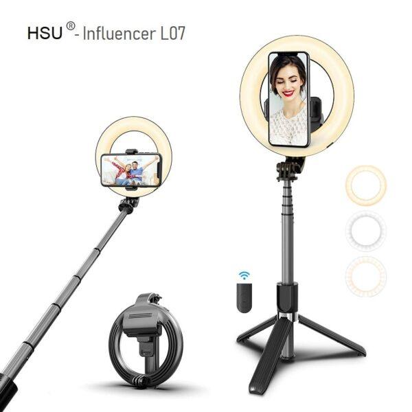 Селфи стик 4 в 1 HSU Influencer L07 - Led ринг | Tрипoд + Bluetooth дистанционно Selfie stick 4 in 1 HSU Influencer L07 - Led ring Tripod Bluetooth remote-01