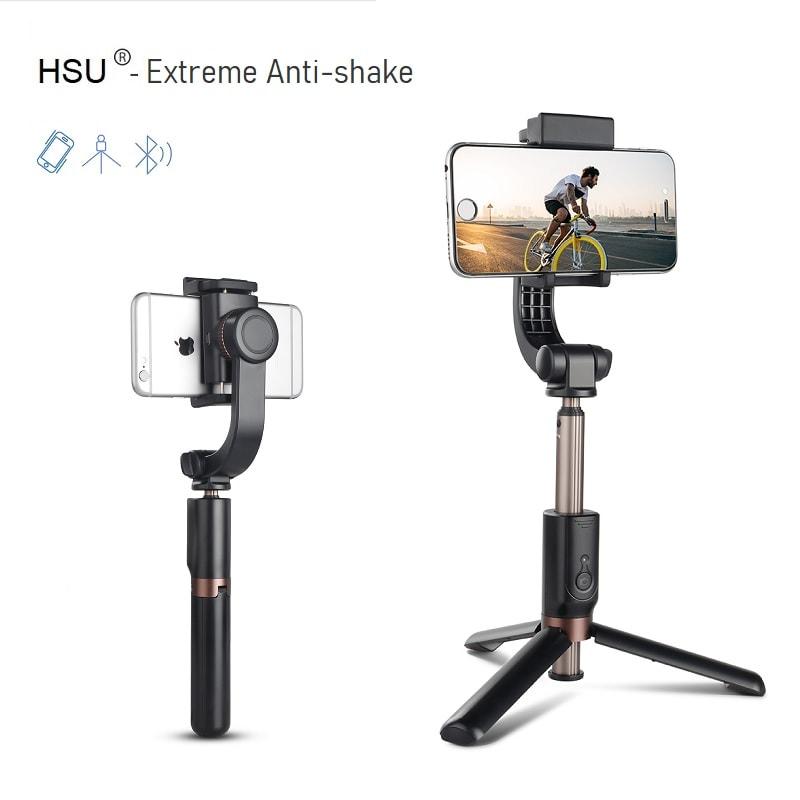 Селфи стик 5 в 1 HSU Extreme Anti-shake - Стабилизатор | Tрипoд + Bluetooth дистанционно -Selfie stick 5 in 1 HSU Extreme Anti-shake - Stabilizer Tripod Bluetooth remote