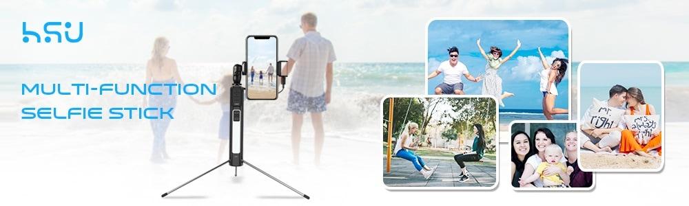 Selfie stick 6 in 1 HSU Beauty Dual Led - Tripod + Bluetooth remote-5