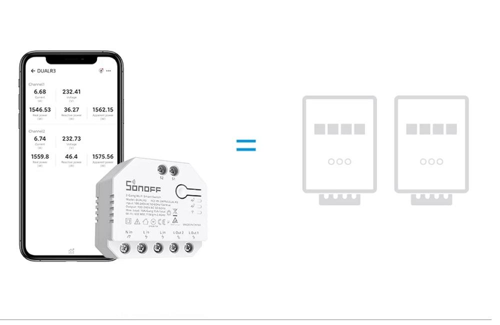 SONOFF DUALR3 Dual Relay Two Way Power Metering Smart Switch 13 - S-Deal.eu & Sonoff - oнлайн магазин