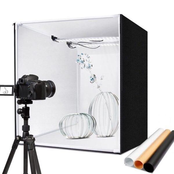 professional-portable-photo-box-studio-60-cm-for-product-photography - Професионална Фотографска Кутия 60 см за предметна фотография с димируемо лед осветление