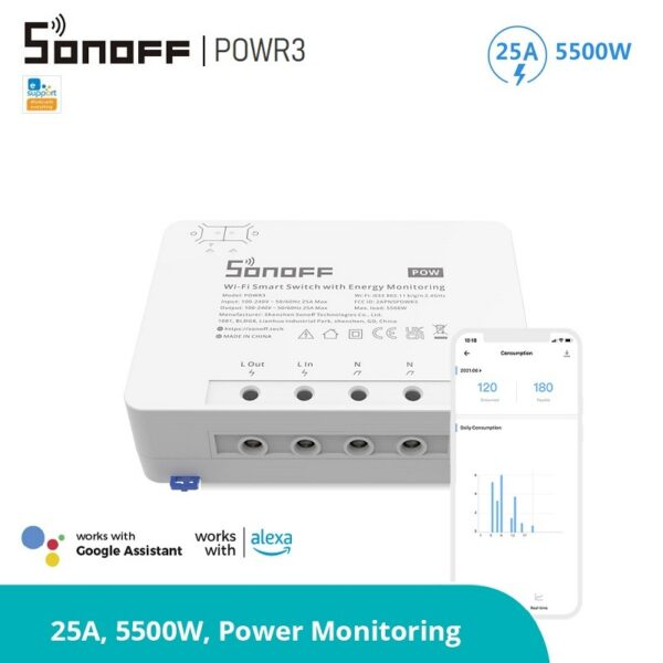 SONOFF POWR3 - прекъсвач с измерване на консумираната енергия 25A 5500W SONOFF POWR3 High Power Smart Switch - 25A-5500W